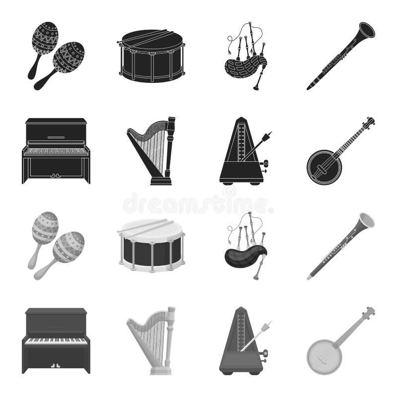 Банджо, рояль, арфа, метроном Музыкальные инструменты установили значки собрания в черном, monochrome запасе символа вектора стил иллюстрация штока