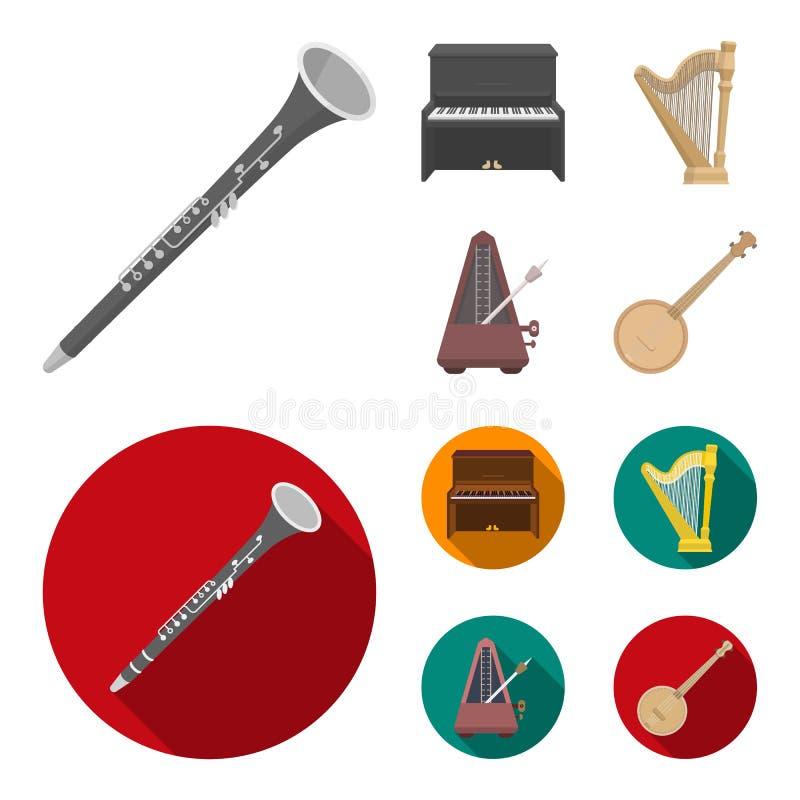 Банджо, рояль, арфа, метроном Музыкальные инструменты установили значки собрания в шарже, плоском запасе символа вектора стиля иллюстрация штока