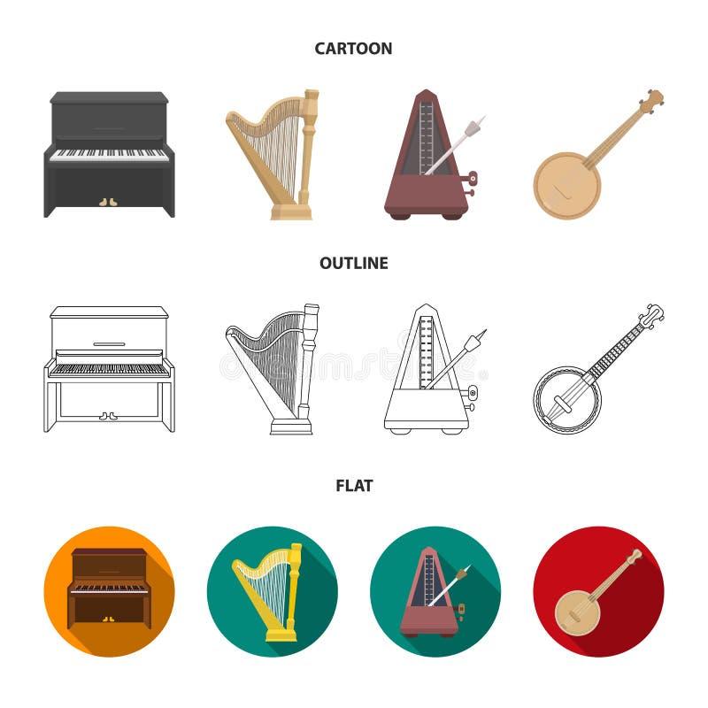 Банджо, рояль, арфа, метроном Музыкальные инструменты установили значки собрания в шарже, плане, плоском символе вектора стиля иллюстрация штока