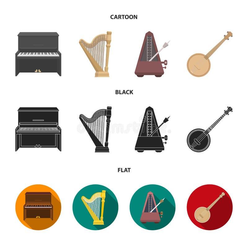 Банджо, рояль, арфа, метроном Музыкальные инструменты установили значки собрания в шарже, черноте, плоском запасе символа вектора иллюстрация вектора