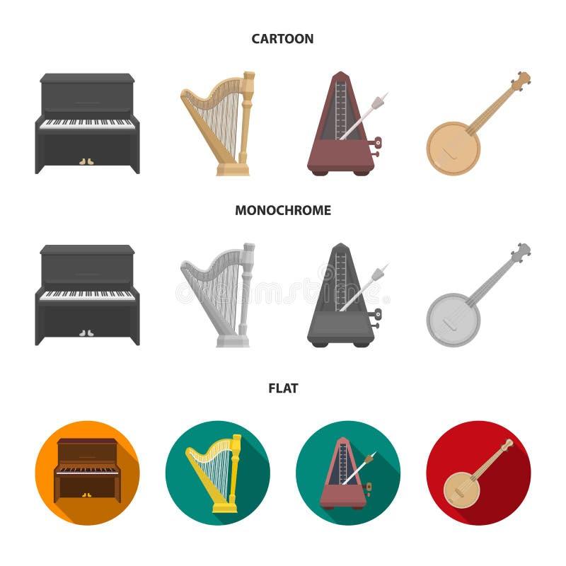 Банджо, рояль, арфа, метроном Музыкальные инструменты установили значки собрания в шарже, плоском, monochrome символе вектора сти иллюстрация штока