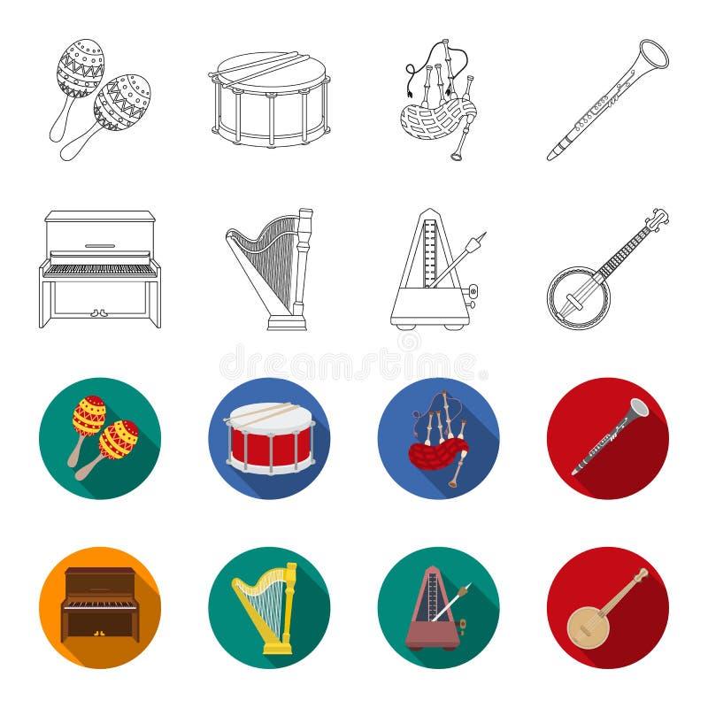 Банджо, рояль, арфа, метроном Музыкальные инструменты установили значки собрания в плане, плоском запасе символа вектора стиля иллюстрация штока