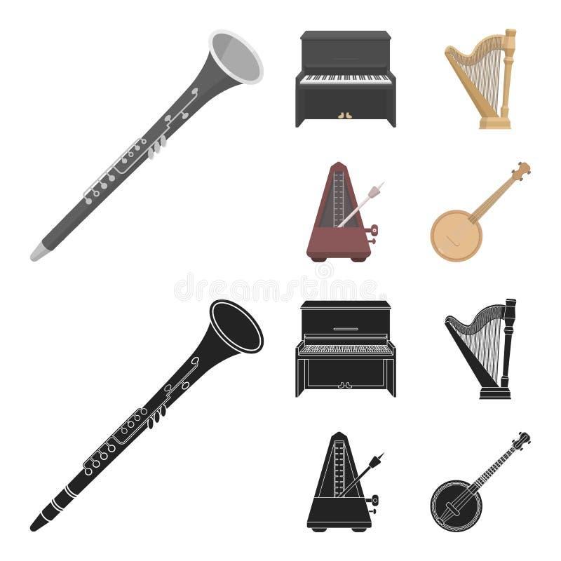 Банджо, рояль, арфа, метроном Музыкальные инструменты установили значки собрания в шарже, запасе символа вектора стиля черноты иллюстрация вектора