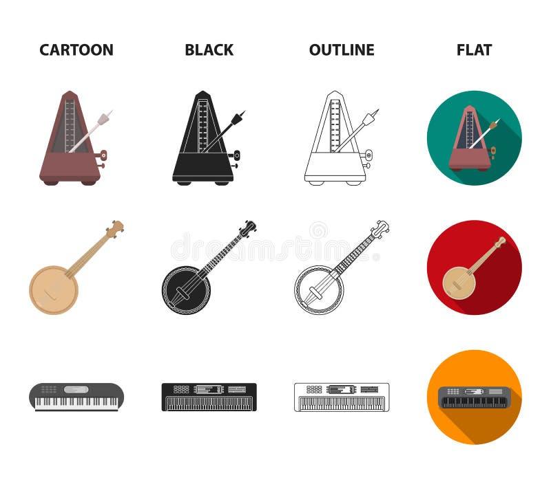 Банджо, рояль, арфа, метроном Музыкальные инструменты установили значки собрания в шарже, черноте, плане, плоском векторе стиля бесплатная иллюстрация