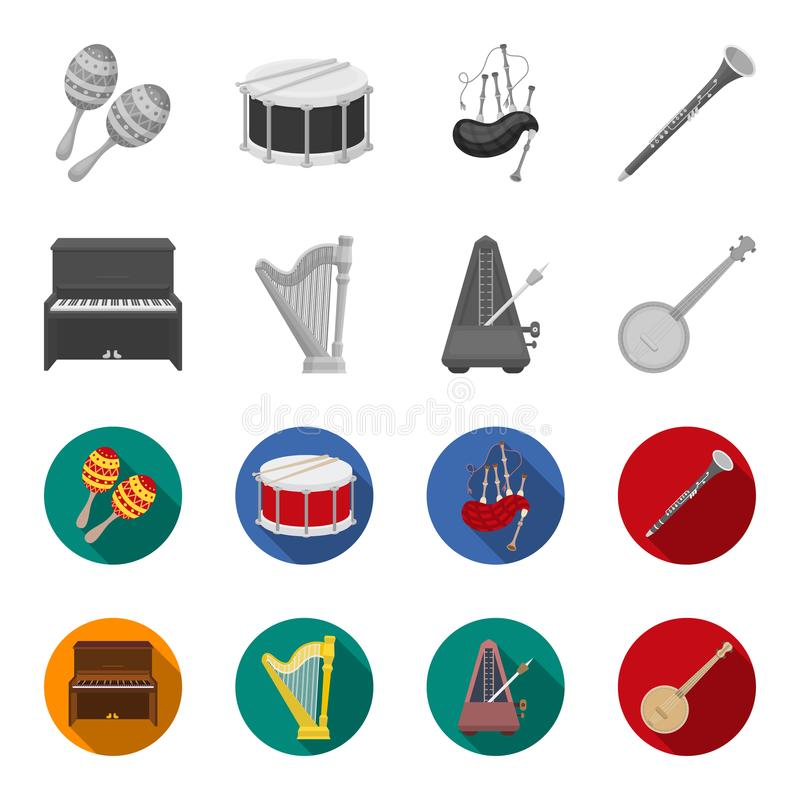 Банджо, рояль, арфа, метроном Музыкальные инструменты установили значки собрания в monochrome, плоском запасе символа вектора сти бесплатная иллюстрация