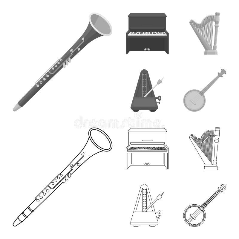 Банджо, рояль, арфа, метроном Музыкальные инструменты установили значки собрания в плане, monochrome запасе символа вектора стиля бесплатная иллюстрация