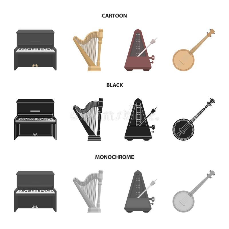 Банджо, рояль, арфа, метроном Музыкальные инструменты установили значки собрания в шарже, черноте, monochrome символе вектора сти бесплатная иллюстрация