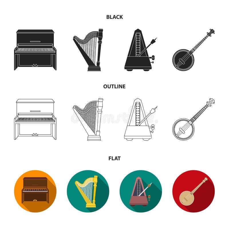 Банджо, рояль, арфа, метроном Установленные музыкальными инструментами значки собрания в черной, плоский, запас символа вектора с иллюстрация вектора