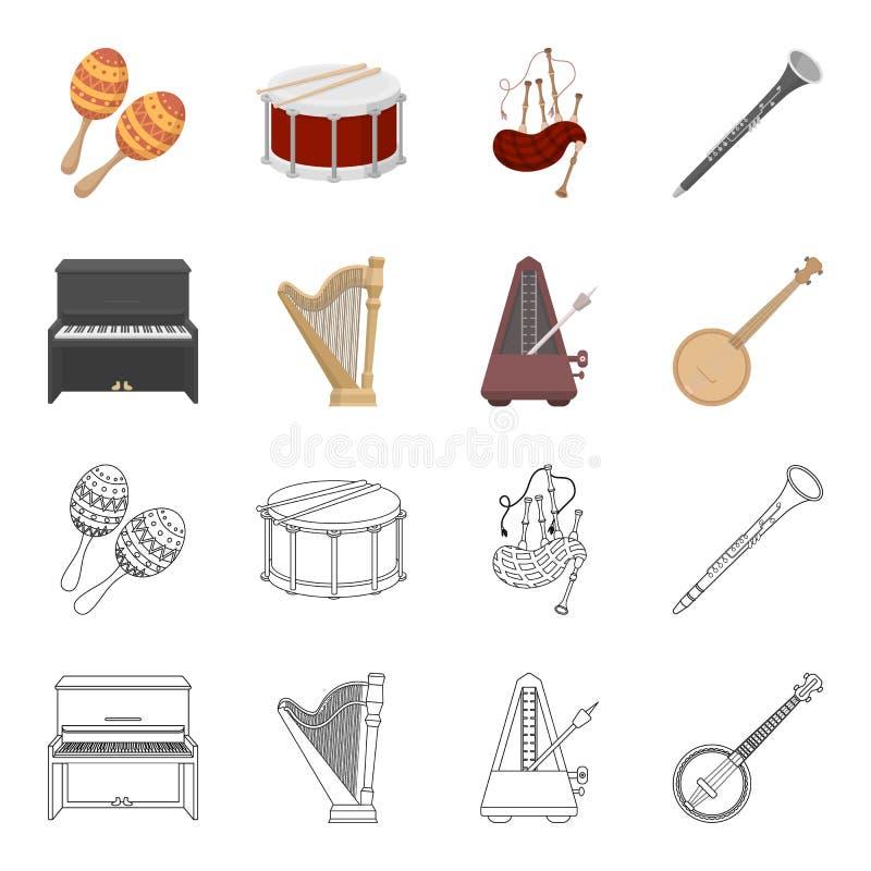 Банджо, рояль, арфа, метроном Установленные музыкальными инструментами значки собрания в шарже, запасе символа вектора стиля план бесплатная иллюстрация