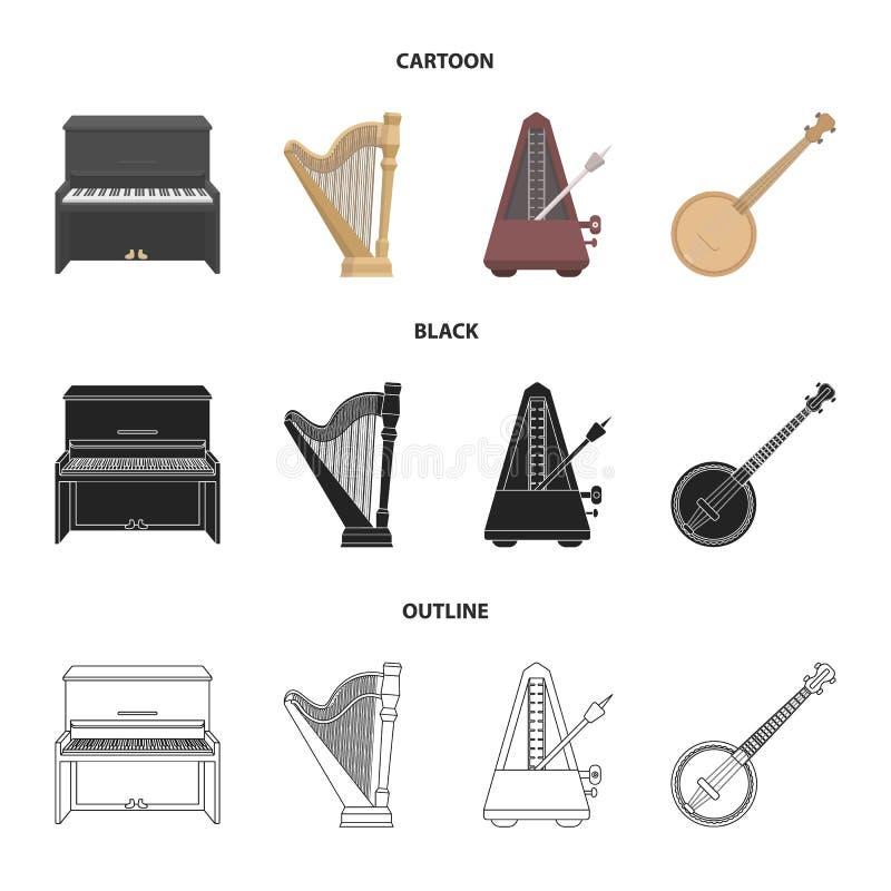 Банджо, рояль, арфа, метроном Установленные музыкальными инструментами значки собрания в шарже, черноте, символе вектора стиля пл иллюстрация вектора