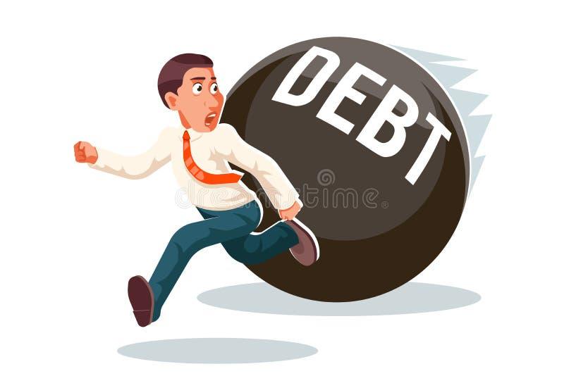 Банка экономического кризиса бега попытка к бегству задолженности би иллюстрация вектора