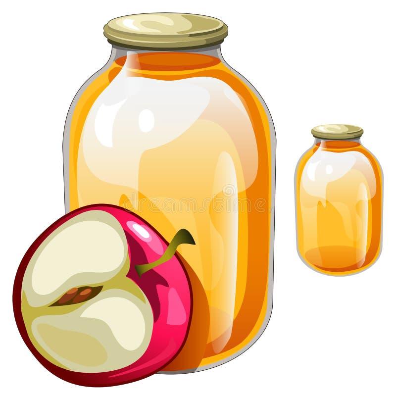Банки с очень вкусным соком или вареньем и яблоком бесплатная иллюстрация