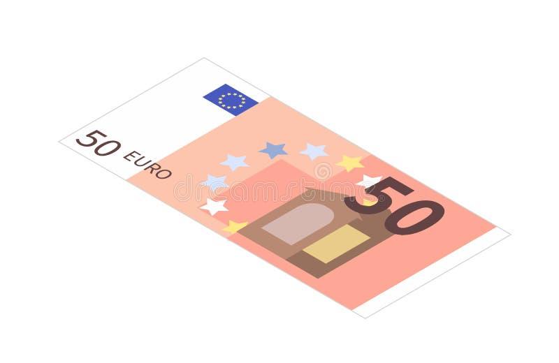 Банкнота евро плоско 50 в равновеликом взгляде на белизне иллюстрация штока