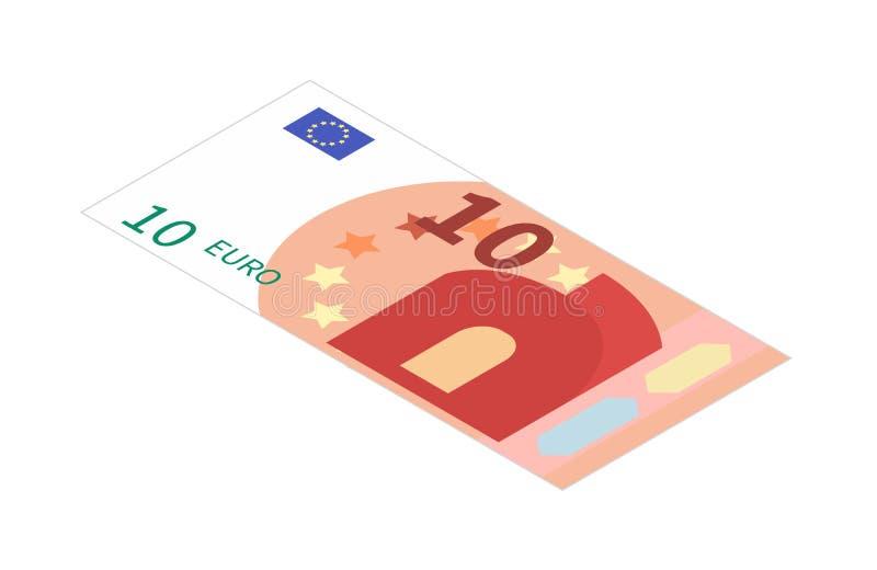 Банкнота евро плоско 10 в равновеликом взгляде на белизне бесплатная иллюстрация