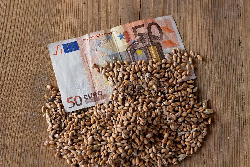 Банкнота и пшеница стоковая фотография