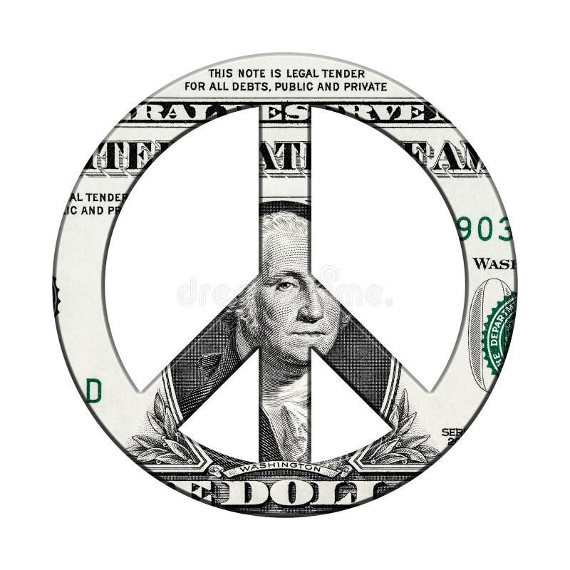 Банкнота доллара на символе мира стоковое изображение