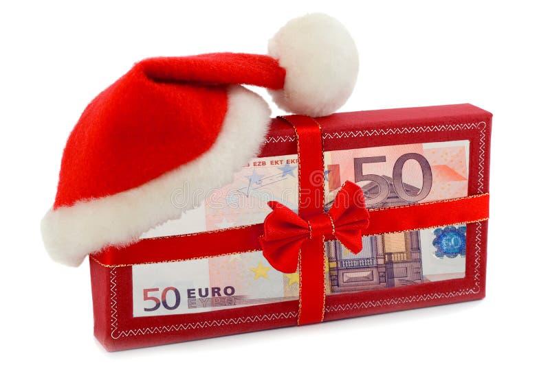 Банкноты евро подарка рождества стоковое изображение rf