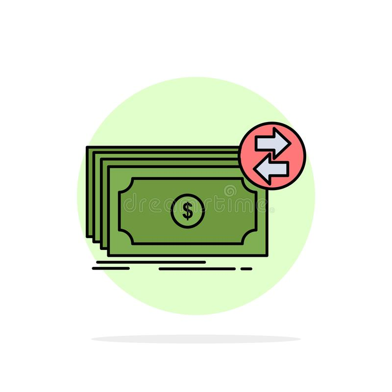 Банкноты, наличные деньги, доллары, подача, вектор значка цвета денег плоский иллюстрация штока