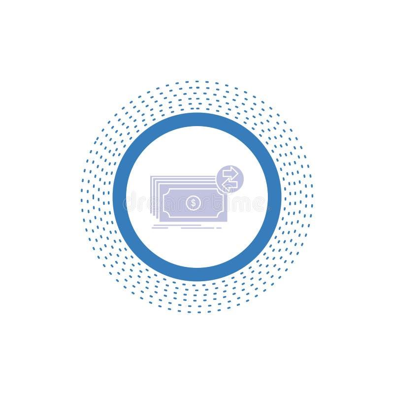 Банкноты, наличные деньги, доллары, подача, значок глифа денег r иллюстрация вектора