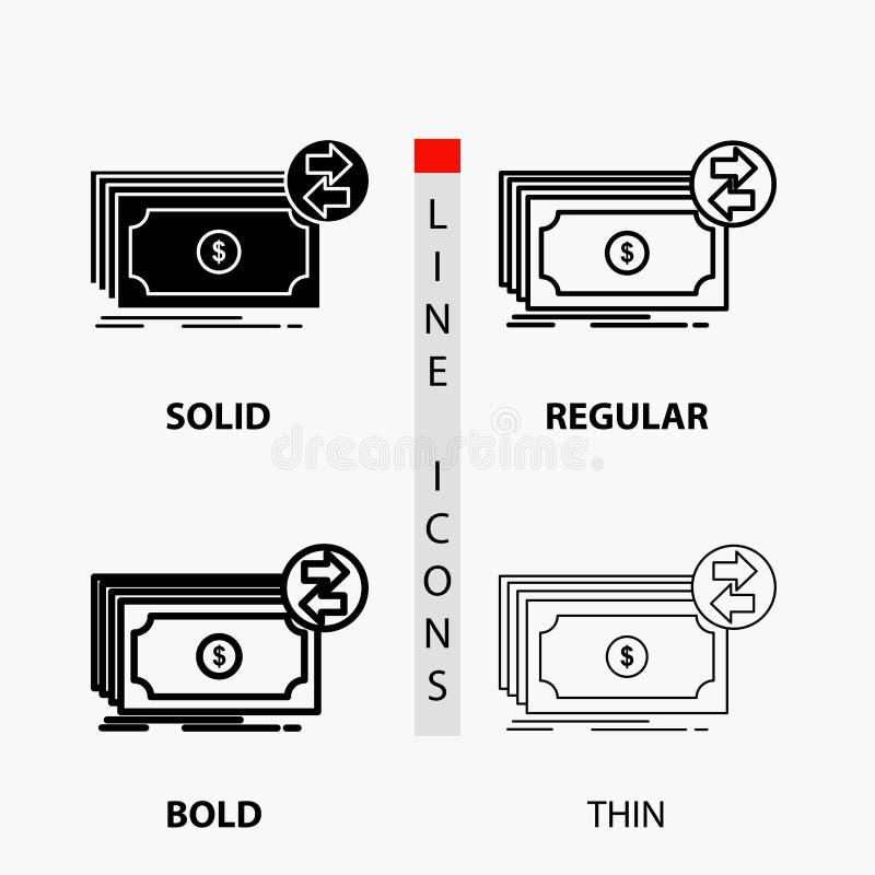 Банкноты, наличные деньги, доллары, подача, значок денег в тонких, регулярных, смелых линии и стиле глифа r иллюстрация вектора