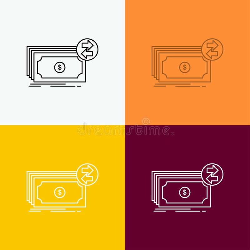 Банкноты, наличные деньги, доллары, подача, значок денег над различной предпосылкой r r иллюстрация штока