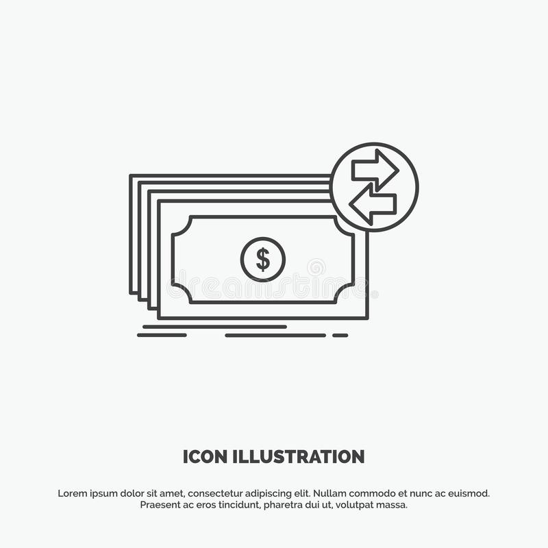 Банкноты, наличные деньги, доллары, подача, значок денег r иллюстрация вектора