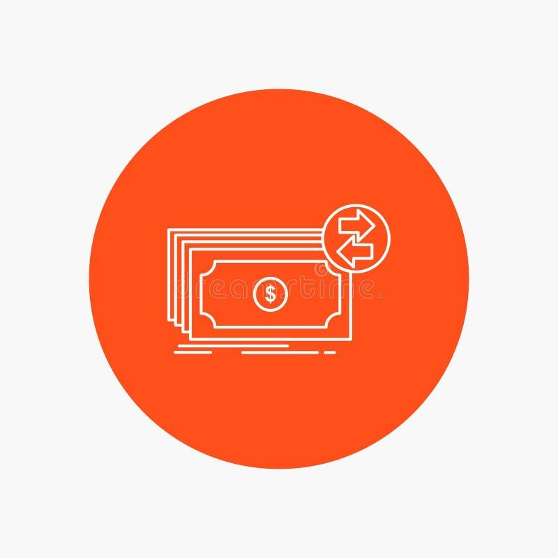 Банкноты, наличные деньги, доллары, подача, линия значок денег белая в предпосылке круга r иллюстрация вектора