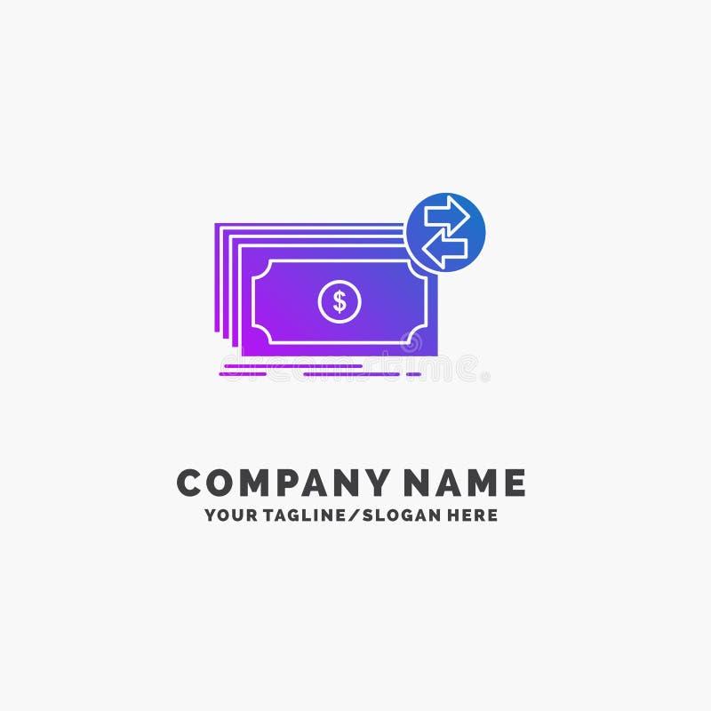 Банкноты, наличные деньги, доллары, подача, шаблон логотипа дела денег пурпурный r иллюстрация штока