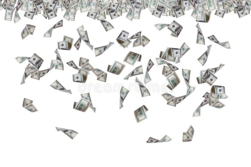 Банкноты доллара летая и идя дождь стоковое изображение
