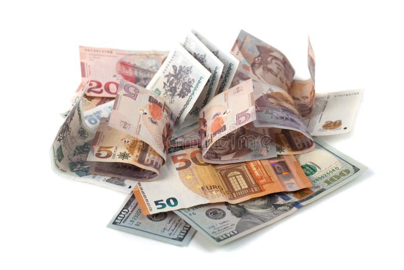Банкноты различных стран, доллара, евро, lari стоковые фотографии rf