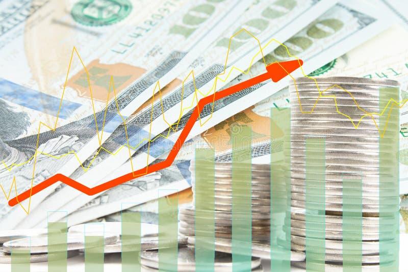 Банкноты, фондовая биржа и диаграмма двойной экспозиции на строках монеток для финансов и банка, вкладов, торговой операции, диаг иллюстрация вектора