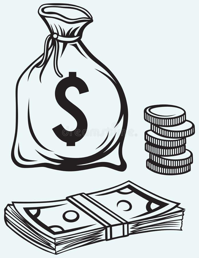 Банкноты, moneybag и монетки долларов стога иллюстрация вектора