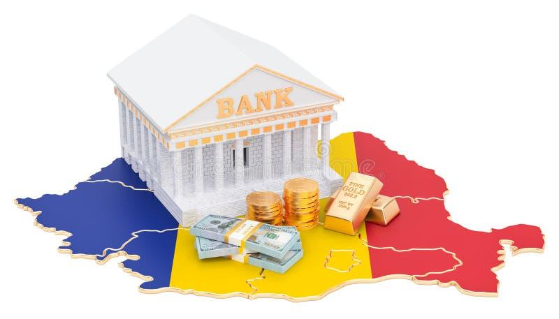 Банковская система в концепции Румынии перевод 3d иллюстрация штока
