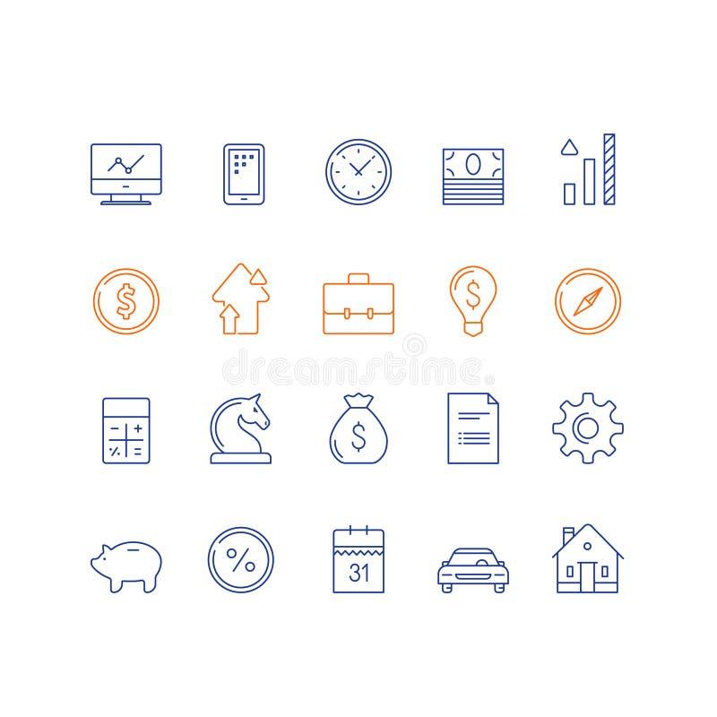 Банковские услуги, финансовый комплект деталя, рост дохода, процентная ставка, выплата за машину, вычисление расходов, ипотека до бесплатная иллюстрация