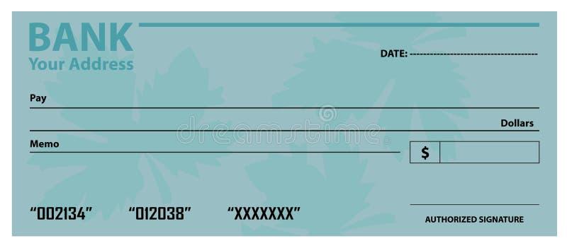 Банковский чек/шаблон чека иллюстрация штока