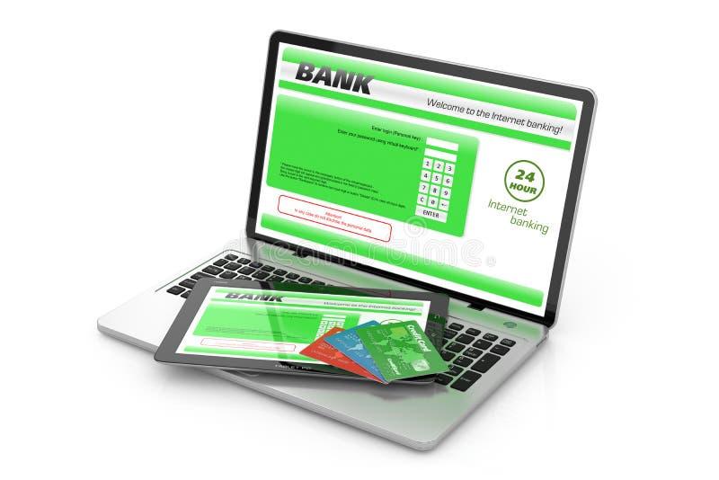 Банковское обслуживание интернета. иллюстрация штока