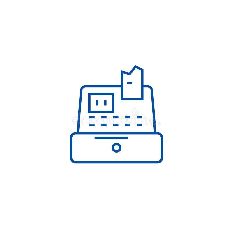 Банкомат, кассир, линия концепция кассового аппарата значка Банкомат, кассир, символ вектора кассового аппарата плоский, знак иллюстрация штока