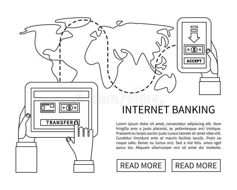 Банк интернета, передвижные оплаты, денежный перевод иллюстрация штока