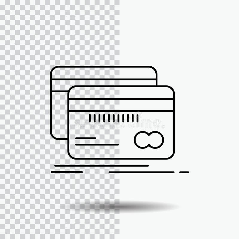 Банк, карта, кредит, дебит, линия значок финансов на прозрачной предпосылке Черная иллюстрация вектора значка иллюстрация штока