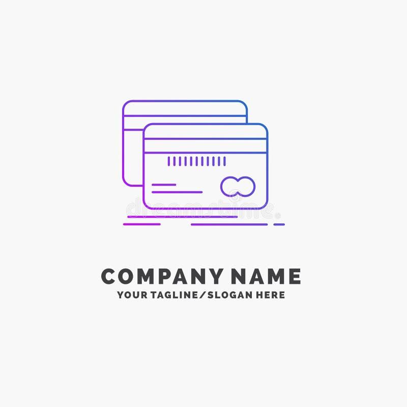 Банк, карта, кредит, дебит, шаблон логотипа дела финансов пурпурный r иллюстрация вектора