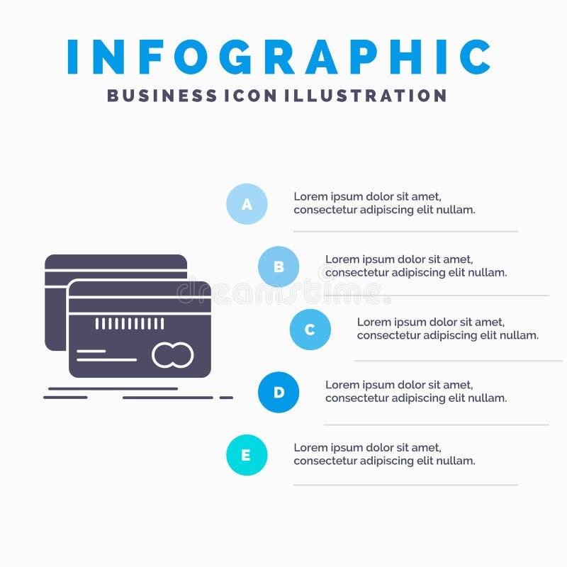 Банк, карта, кредит, дебит, шаблон Infographics финансов для вебсайта и представление Значок глифа серый с голубое infographic иллюстрация штока