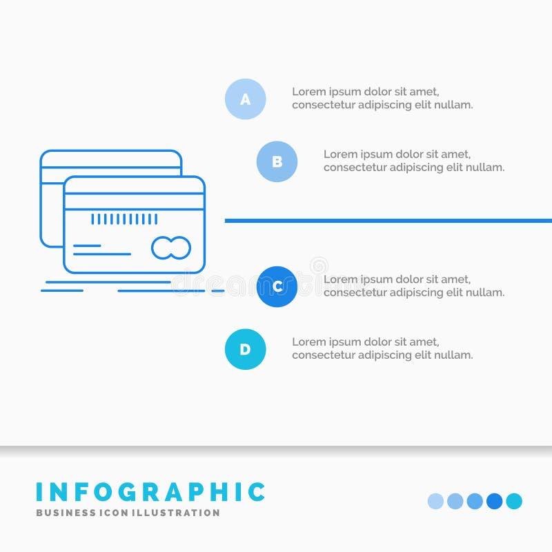 Банк, карта, кредит, дебит, шаблон Infographics финансов для вебсайта и представление Линия вектор стиля голубого значка infograp иллюстрация вектора