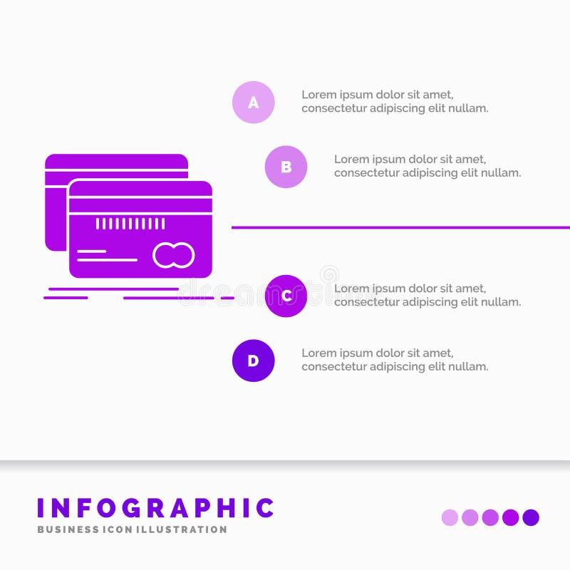 Банк, карта, кредит, дебит, шаблон Infographics финансов для вебсайта и представление r иллюстрация штока