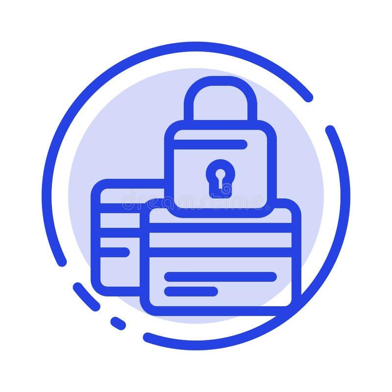 Банк, карта, кредит, оплата, безопасная, линия значок голубой пунктирной линии безопасностью иллюстрация штока