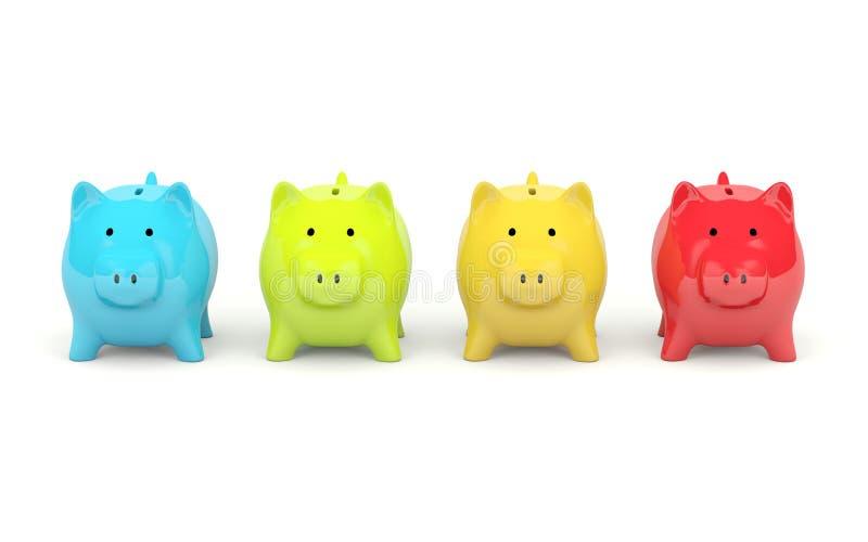 банк красит 4 piggy иллюстрация штока