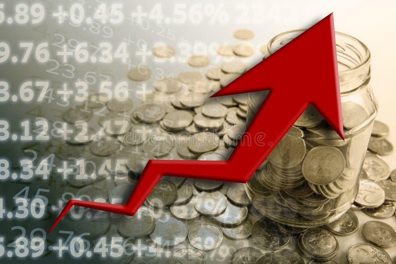 Банк монеток с числами и диаграммой бесплатная иллюстрация
