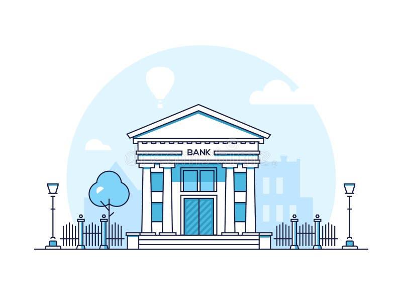 Банк - современная тонкая линия иллюстрация вектора стиля дизайна иллюстрация вектора
