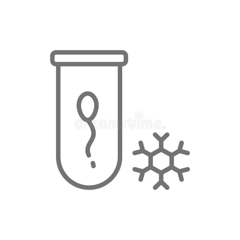 Банк спермы, линия значок сперматозоида замерзая иллюстрация штока