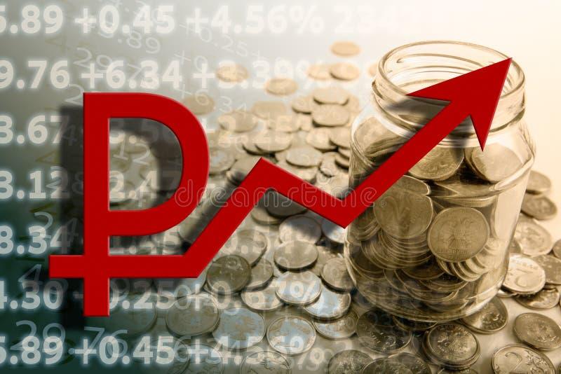 Банк с монетками и подсчитывать рубля бесплатная иллюстрация
