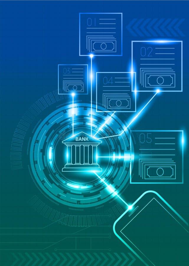 Банк цифров с предпосылкой мобильного телефона и технологии иллюстрация вектора
